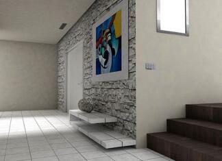 Ozdobne ściany w przedpokoju z tynkiem dekoracyjnym